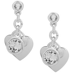 Gloria Vanderbilt Silver Tone Clear Stone Heart Earrings