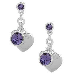 Gloria Vanderbilt Purple Stone Heart Charm Drop Earrings