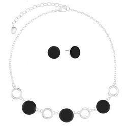 Gloria Vanderbilt Black DIsc & Ring Necklace Set