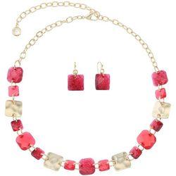 Gloria Vanderbilt Red Chicklet Necklace Set