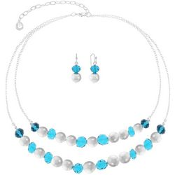 Gloria Vanderbilt Aqua Beaded 2 Row Necklace Set