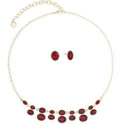 Gloria Vanderbilt Red Double Stone Drop Necklace S