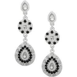 Gloria Vanderbilt Black & Clear Double Drop Earrings