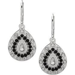 Gloria Vanderbilt Black & Clear Rhinestone Teardrop Earrings