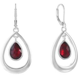Gloria Vanderbilt Red Multi-Faceted Open Teardrop Earrings