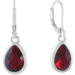Gloria Vanderbilt Red Teardrop Leverback Earrings