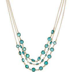 Gloria Vanderbilt Green Channel Frontal Necklace