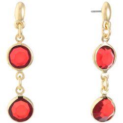 Gloria Vanderbilt Red Channel Beads Double Drop Earrings