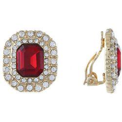 Gloria Vanderbilt Red & Clear Clip On Earrings