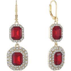 Gloria Vanderbilt Red & Rhinestones Double Drop Earrings