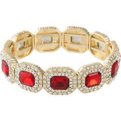 Gloria Vanderbilt Red & Clear Stones Stretch Bracelet