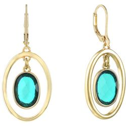 Gloria Vanderbilt Green Gold Tone Facet Earrings