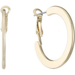 Gloria Vanderbilt Gold Tone Flat Hoop Earrings