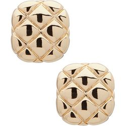 Gloria Vanderbilt Square Quilt Button Post Back Earrings