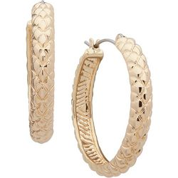 Gloria Vanderbilt Gold Tone Quilt Texture Hoop Earrings