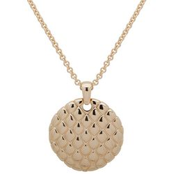 Gloria Vanderbilt Gold Tone Quilt Pendant Necklace