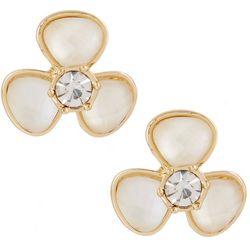 Gloria Vanderbilt White Flower Button Stud Earring