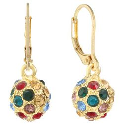 Gloria Vanderbilt Multi Rhinestone Pave Ball Earrings