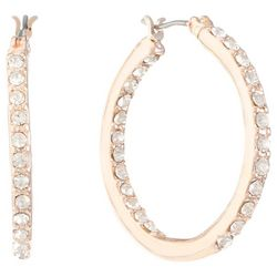 Gloria Vanderbilt Rose Gold Tone Rhinestone Hoop Earrings