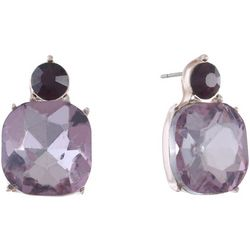 Gloria Vanderbilt Purple Square Drop Earrings