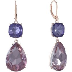 Gloria Vanderbilt Double Purple Stone Drop Earrings