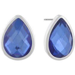 Gloria Vanderbilt Blue Teardrop Post Back Earrings