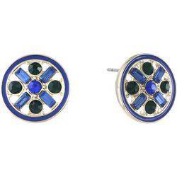 Gloria Vanderbilt Blue & Green Rhinestone Button Earrings