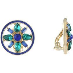 Gloria Vanderbilt Rhinestone Button Clip On Earrings