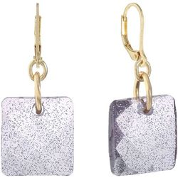 Gloria Vanderbilt Light Purple Sparkle Square Earrings