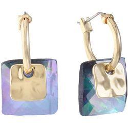 Gloria Vanderbilt Opal Purple Double Square Hoop Earrings