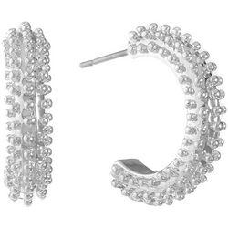 Gloria Vanderbilt Silver Tone Spike C Hoop Earrings