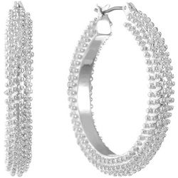 Gloria Vanderbilt Silver Tone Spike Hoop Earrings