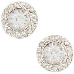 Gloria Vanderbilt Clear CZ Halo Stud Earrings