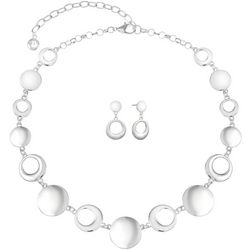 Gloria Vanderbilt Silver Tone Disc Necklace Set