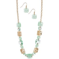 Gloria Vanderbilt Mint Chicklet Necklace Set