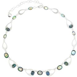 Gloria Vanderbilt Silver Tone & Abalone Shell Necklace