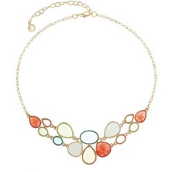 Gloria Vanderbilt Gold Tone Multi-Colored Front Necklace
