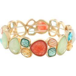 Gloria Vanderbilt Gold Tone Faceted Stone Stretch Bracelet