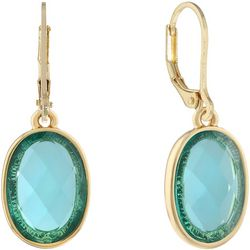 Gloria Vanderbilt Aqua Blue Stone Leverback Earrings