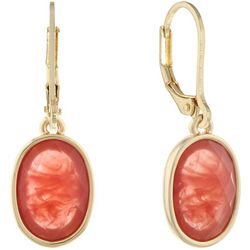 Gloria Vanderbilt Cherry Red Stone Leverback Earrings