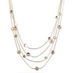 Gloria Vanderbilt Gold Tone Multi-Row Discs Necklace