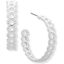 Gloria Vanderbilt Silver Tone 35mm Twisted C Hoop Earrings