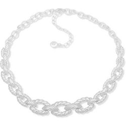 Gloria Vanderbilt Silver Tone Twisted Rope Collar Necklace