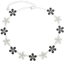 Gloria Vanderbilt Silver Tone Daisy Flower Collar Necklace