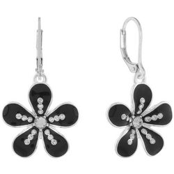 Gloria Vanderbilt Jet Black Daisy Flower Drop Earrings