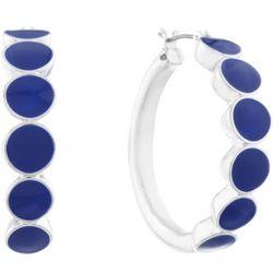 Gloria Vanderbilt Navy Blue 35mm Hoop Earrings