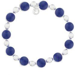 Gloria Vanderbilt Navy Blue & Silver Tone Stretch Bracelet