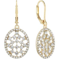 Gloria Vanderbilt Pave Crystal Oval Drop Earrings