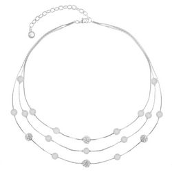 Gloria Vanderbilt 3 Row Pave Rhinestone Beaded Necklace