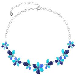 Gloria Vanderbilt Blue Multi Flower Frontal Necklace